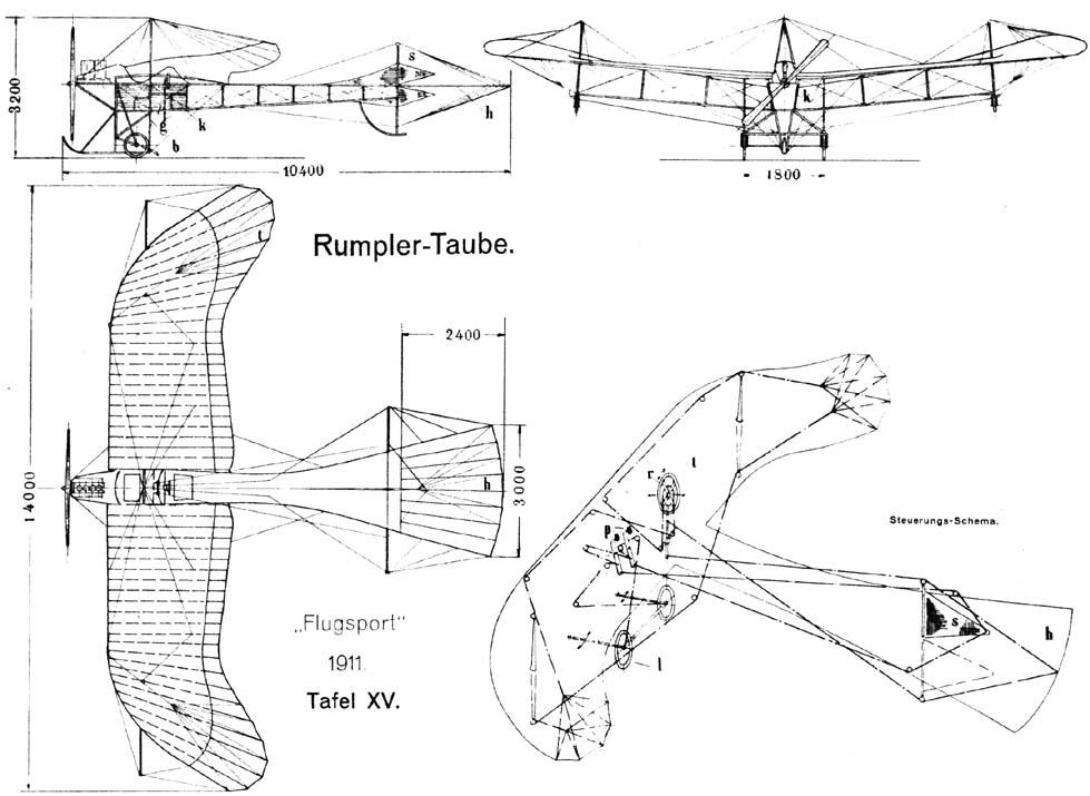 Схема самолета Румплер «Таубе»